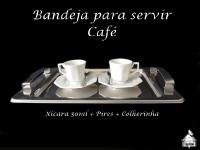 Conjunto de Cafezinho com Bandeja Inox com Alça
