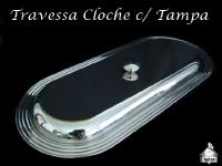Travessa Cloche com Tampa Inox 53X23cm