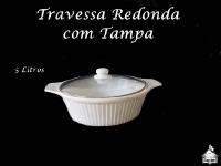 Travessa Porcelana com Tampa de Vidro 5 Litros