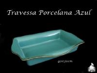 Travessa Retangular Azul Pocelana 40X30cm - Pode ser utilizada em Forno e Rechaud