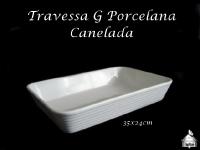 Travessa Retangular Canelada Branca Pocelana 35X24cm