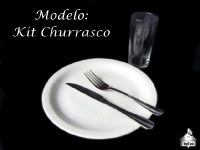 Modelo: Kit Churrasco (Prato + Garfo + Faca + Copo Long Drink)