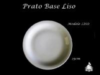 Prato Base Cerâmica 25X25cm - Modelo Simples (Churrasco/Massa/Pizza)