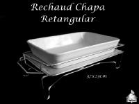 Rechaud de Chapa 37X23cm + Travessa de Porcelana Branca