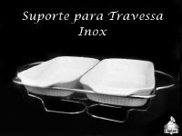 Suporte Inox para Travessa com Vela + Travessa Dupla P