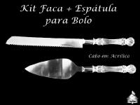 Kit Faca + Espatula para Bolo com cabo em acrílico