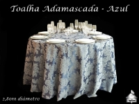Toalha Redonda Adamascada - AZUL - 2,80cm de diâmetro